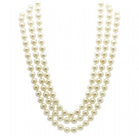 Triple Strand Pearl Necklace 14ct Gold